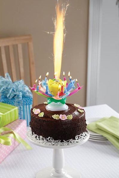 Rotating Lotus Flower Birthday Candles