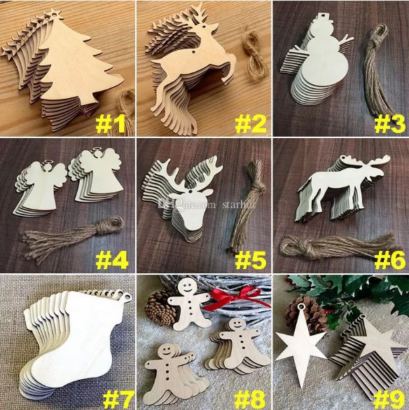 wooden christmas tree ornaments 10 pieceslot - Wooden Christmas Tree Ornaments
