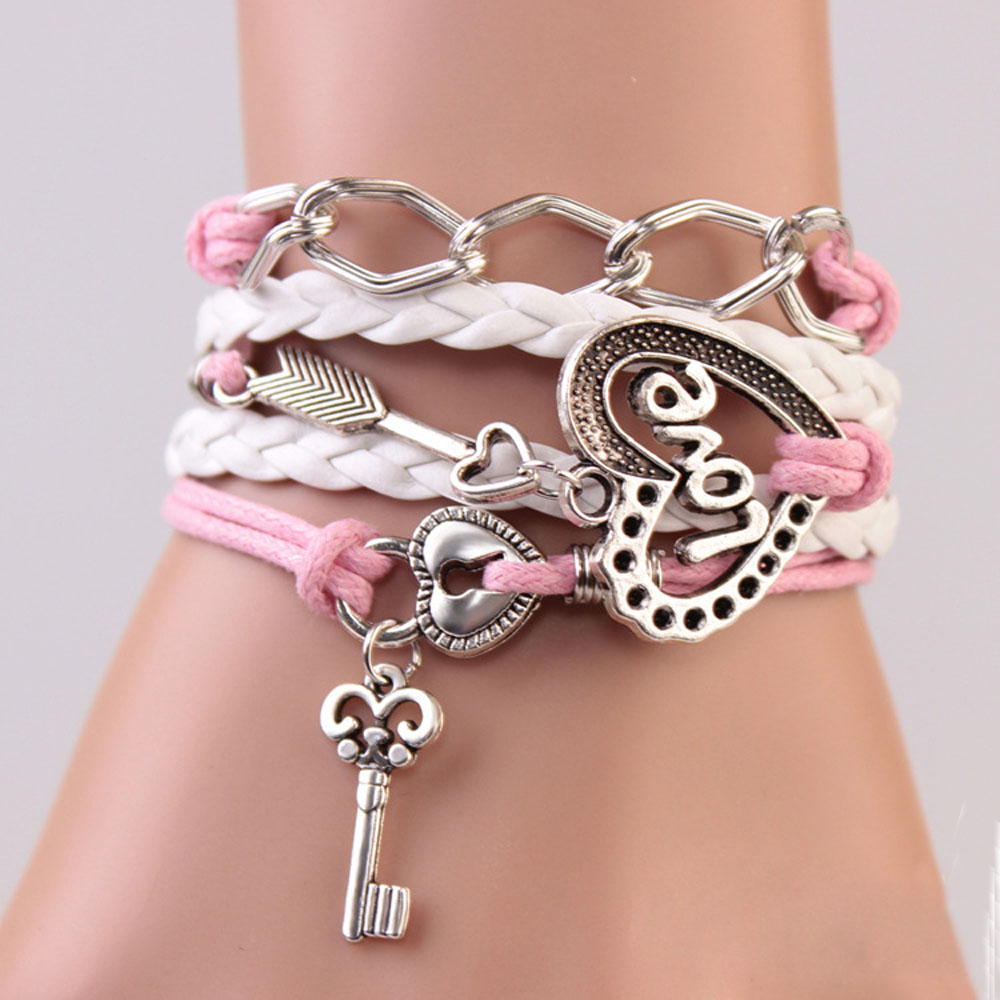 ee52f70428a8c FAMSHIN New Handmade Bracelet Lock key Cupid's Arrow Charms Infinity  Bracelet White Pink Leather Bracelet Women Best Couple Gift